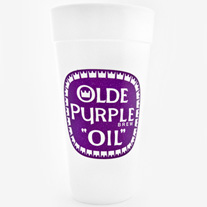 Olde purple oil styrofoam cup your price 3 99